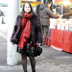 Fur jacket and black dress