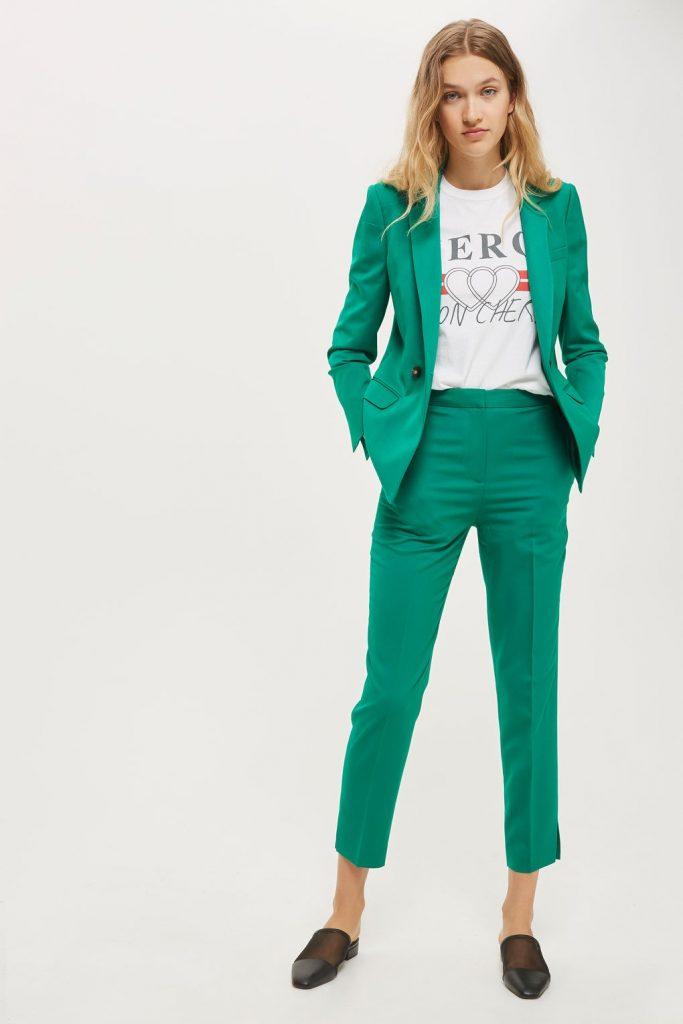 green pant suit
