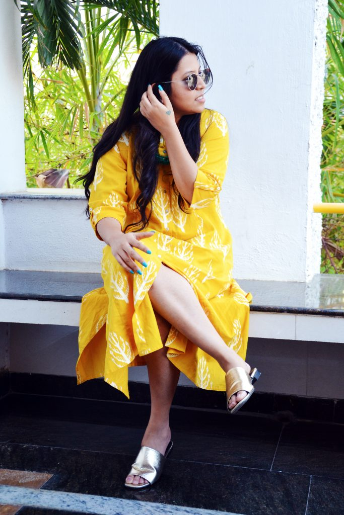 Yellow cotton midi dress - Fashion and Frappes