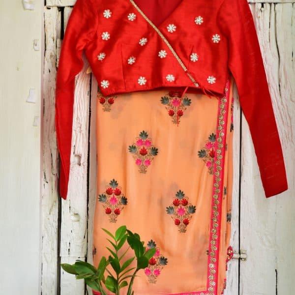 Peach & Red - Zari by Fashion & Frappes