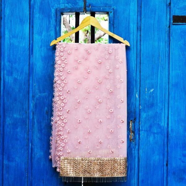 Blush Pink sari - Zari by Fashion & Frappes