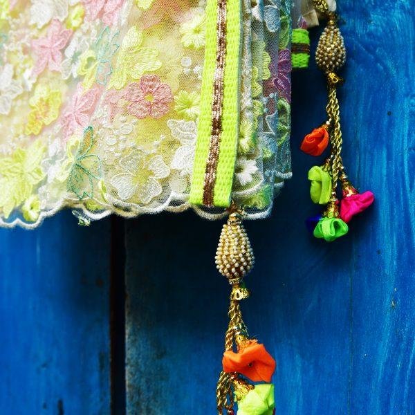Cream & Neon sari - Zari by Fashion & Frappes