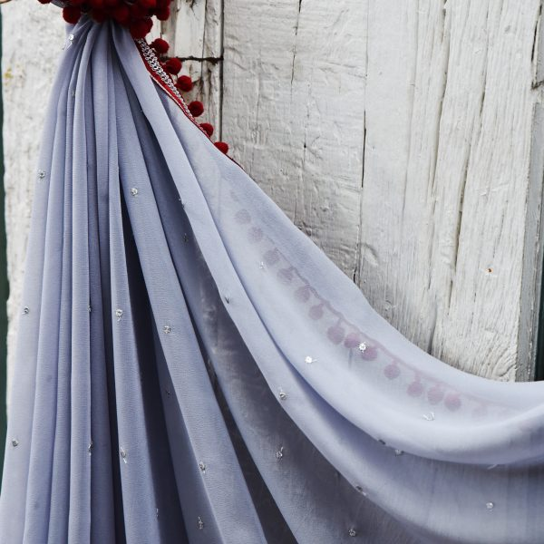 Grey and Red sari - Zari by Fashion & Frappes