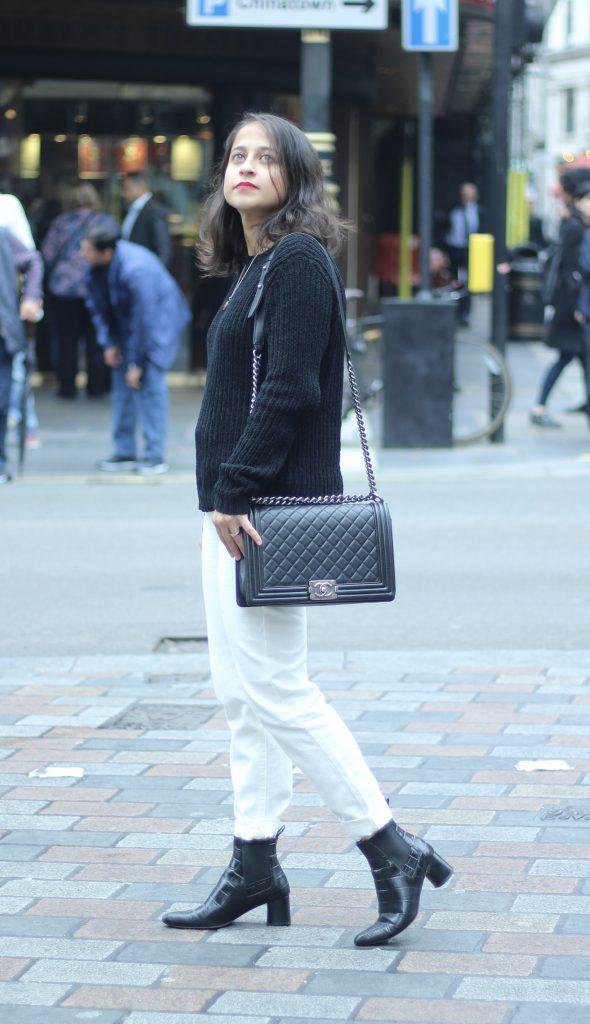 white jeans chanel bag