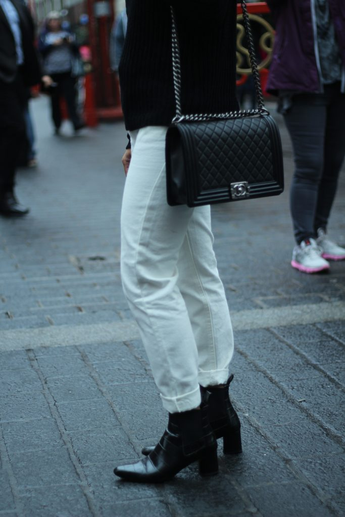 white jeans chanel bag