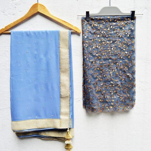 Powder blue sari - Zari by Fashion & Frappes