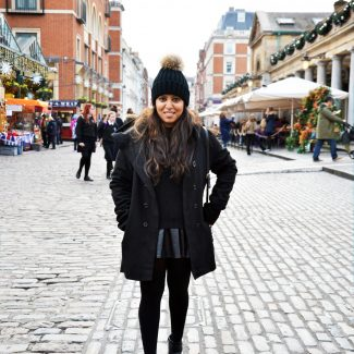 Leather Skirt and A Chunky Sweater: All Black Winter Outfit