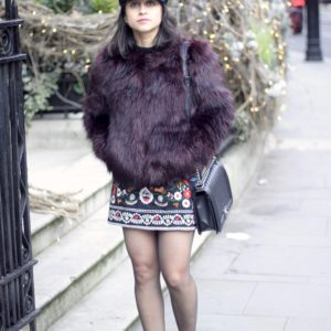 Embroidered mini skirt, faux fur maroon jacket