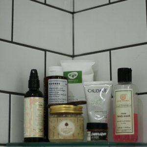 In the shower - Korres, Jaypore, Caudalie