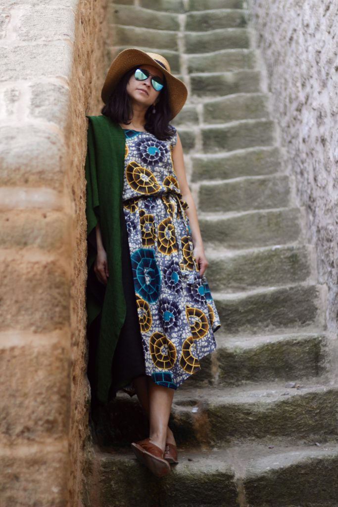 Essaouira midi cotton african print dress