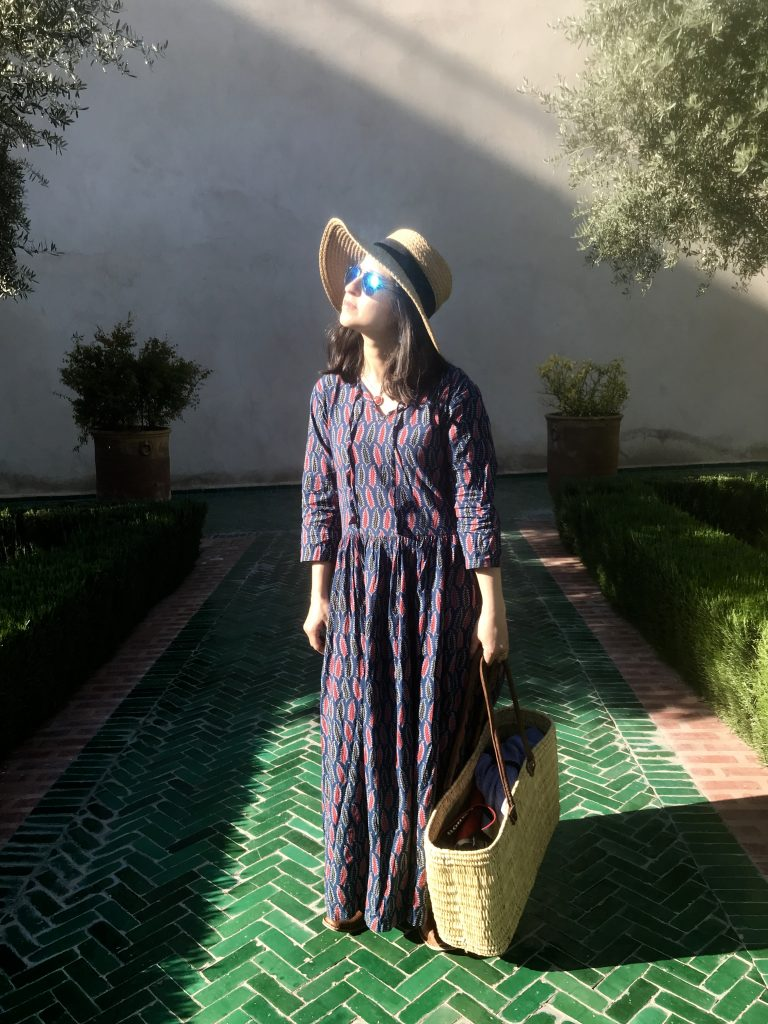 Le Jardin secret Indian print maxi dress basket bag