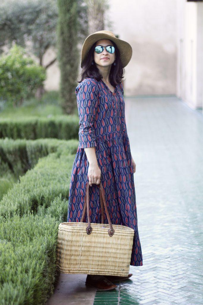 Le Jardin secret Indian print maxi dress basket ba
