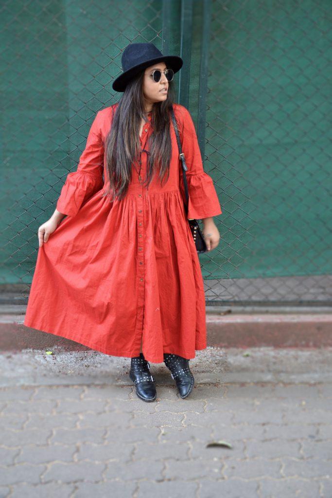 Orange maxi dress - fashion and frappes
