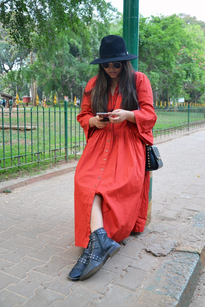Orange maxi dress- Fashion and frappes