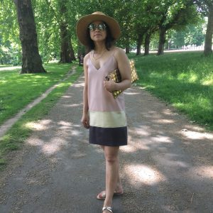 Zara leather slip dress straw hat