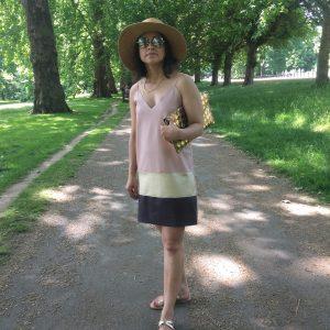 Zara leather slip dress straw hat