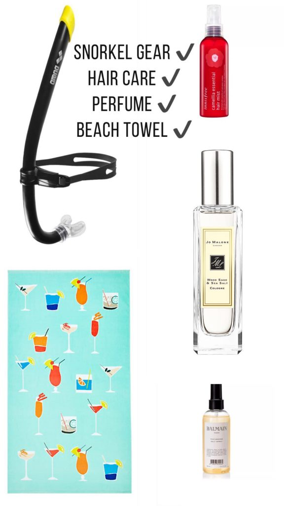 Beach essentials haircare and snorkel