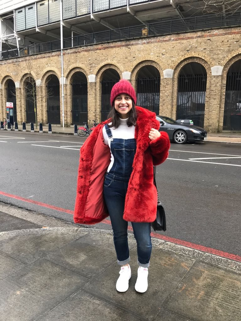 Red faux fur coat dungarees