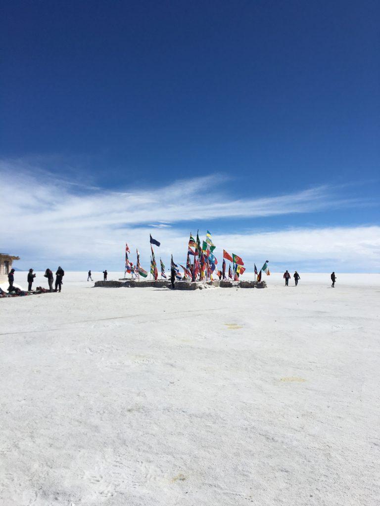 Flags of the World, near the Salt Hotel, Salar de Uyuni, Bolivia