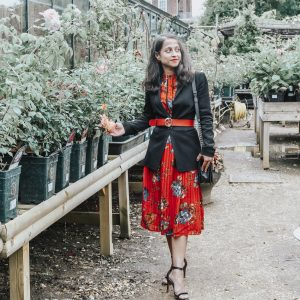 Red summer dress Petersham Nurseries