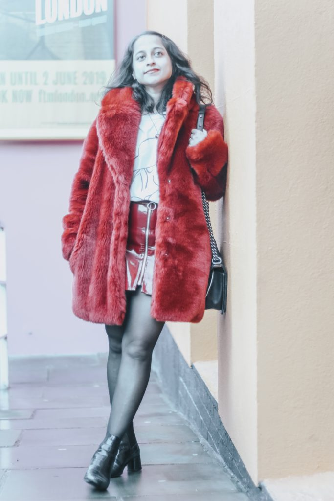 fast fashion red faux fur outfit